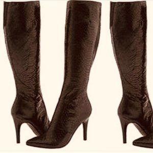 Nine West Faux Snakeskin Gallivant Heeled Boots 8M